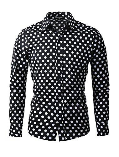 Camisa de manga larga para hombre, diseño de lunares blancos